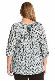982296600a5 Karen Kane Plus Size Cable Print Peasant Top