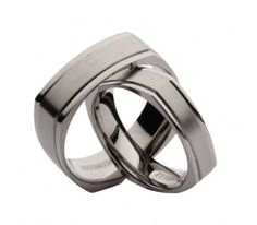 His & Hers Titanium Square Matt and Polished Wedding Bands