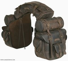 Complete, unique saddle bag, ideal for trekking riders and long riders. The saddle consists of a saddle bag with six pockets and quick release, long inner ties for a more secure closure, one cantle bag and two round saddle bags which can be detached and Riding Gear, Horse Riding, Leather Projects, Motorcycle Gear, Retro Motorcycle, Horse Tack, Horse Saddle Bags, Horse Saddles, Motorcycle Accessories