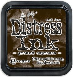 TIM HOLTZ: Distress Ink Pad (Ground Espresso) Distress Inks are a collection of acid-free, non-toxic, fade-resistant, water-based dye inks. They're perfect for the popular vintage, stained and aged ef