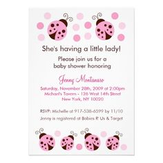 Mod Ladybug Pink Brown Dots Baby Shower Invitation