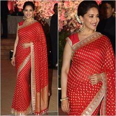 @madhuridixitnene  Sari - @anitadongre  Jewelry - @aquamarine_jewellery  Styled by - @tanghavri @nidhijeswani  #bollywood #style #fashion #beauty #bollywoodstyle #bollywoodfashion #indianfashion #celebstyle #madhuridixit #anitadongre