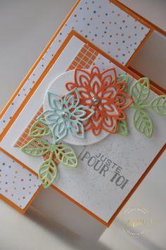 Cartes doubles faces Thinlits en Fleurs, Papier Design Nuit de l'Halloween et son tutoriel par Marie Meyer Stampin up - http://ateliers-scrapbooking.fr/ - Flourish Thinlits  - Thinlits Blütenpoesie