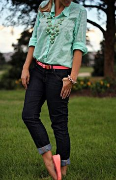 Mint Gingham Shirt  Coral Accents