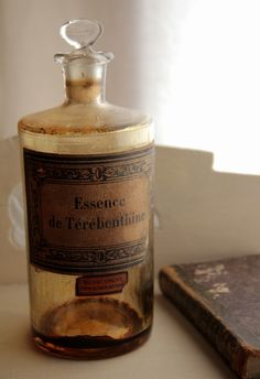 "18th century French apothecary bottle. "" Essence of Terebenthine""."