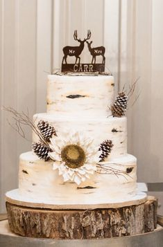Buttercream Birch Wedding Cake with pine cones and deer topper
