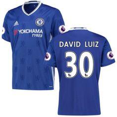 Chelsea 16-17 #David Luiz 30 Hjemmebanetrøje Kort ærmer,208,58KR,shirtshopservice@gmail.com