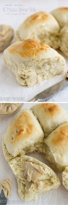 Small Batch 45 Minute Dinner Rolls   crazyforcrust.com   4 dinner rolls on your table in under 45 minutes! Serve it up with maple butter!