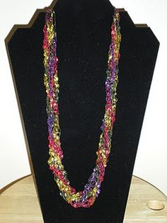 ladder yarn necklace multicolor ribbon necklace crocheted choker