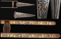 Indian katar (push dagger), 17th to 18th century. Steel blade chisled in high relief. The hilt is completely covered with an arabesque decoration, floral motifs and gold koftgari Japanese pagodas.Rare pierced iron scabbard with engraved and silver incrusted foliage. Contrasting with the silver there are two gold incrusted birds at the centre of the composition. Full Length: 39, 5 cm; Blade Length: 22, 5 cm http://www.caravanacollection.com/
