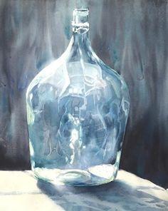 Ilumination - Sarah Yeoman (American, contemporary) - watercolor - large bottle