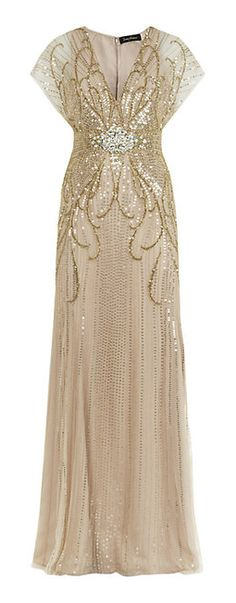 Jenny Packham Beige Beaded Gown