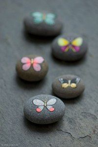 I painted some new butterfly pebbles. You must have seen some of them in my jewe… I painted some new butterfly pebbles. You must have seen some of them in my jewelry collage photos. I used acrylic paints and micron Pebble Painting, Dot Painting, Pebble Art, Stone Painting, Stone Crafts, Rock Crafts, Arts And Crafts, Hand Painted Rocks, Painted Pebbles