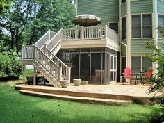 Picture Perfect Open Upper Deck With Beautiful Screened Under Decking With  Decorative Screen Transoms And Expanded Flagstone Patio.