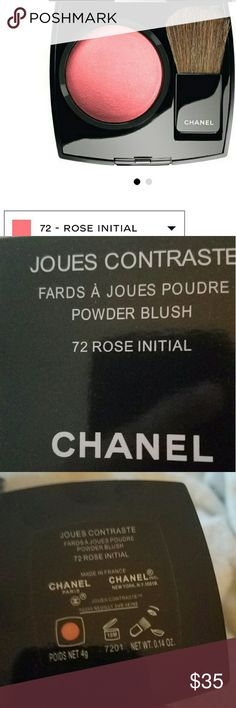 """Chanel blush #72 Rose Initial  Original A soft, silky powder blush that enhances the complexion with a touch of colour and radiance. In a wide range of shades.    COMPOSITION JOUES CONTRASTE features """"baked powder"""" technology: a manufacturing process exclusive to Chanel that results in a particularly soft, fine texture. For easy application and touch-ups, the compact includes a deluxe brush. The price firm no change,  no offer  the shipping  next day  contain  brush,  bag CHANEL Makeup Blush"""