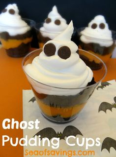 Simple and Fun Ghost Pudding Cups Recipe!