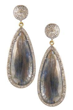 Sapphire & White Diamond Dangle Earrings