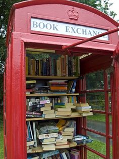 A British phone booth turned into a local library. Borrow one book, leave one book behind. Just think of the community spirit behind this idea.