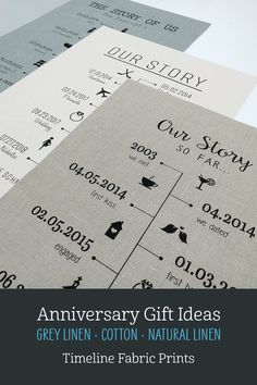We offer a selection of timeline fabric prints, perfect gifts for any special occasion or anniversary! Especially ideal for cotton (2 years) and linen (4 or 12 years) anniversaries, most designs can include up to 12 dates. We also offer black or white framing options and an extensive collection of icon images to choose from! Visit our shop to view all designs... #BeeHappyArt #2yearanniversary #4yearanniversary #timeline #anniversarygiftsforhim #anniversarygiftideas Linen Fabric, Cotton Linen, 4th Year Anniversary Gifts, Happy Art, Bee Happy, First Kiss, Couple Gifts, Timeline, Printing On Fabric