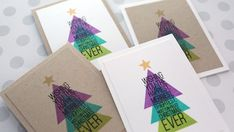 Holiday Card Series 2017 - Day 2 - Modern Christmas Tree with Triangle Stamp Simple Christmas Cards, Modern Christmas, Xmas Cards, Holiday Cards, Christmas Diy, Christmas 2017, Christmas Trees, Card Tutorials, Video Tutorials