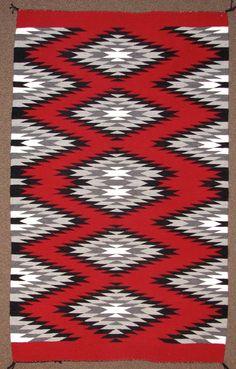 Navajo weaving Ganado by Ruby James. Measures 35 by 58 inches. Vintage Crochet Patterns, Tribal Patterns, Embroidery Patterns, Navajo Art, Navajo Rugs, Navajo Style, Navajo Weaving, Hand Weaving, Native American Rugs
