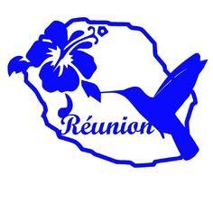 Sticker département de la réunion colibri et hibiscus bleu