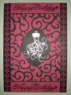 Pink/black dress card