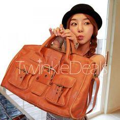 Casual Buckle and Solid Color Design Handbag