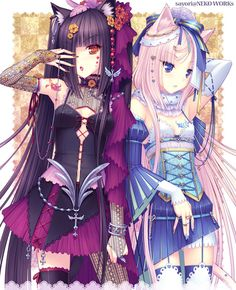 Anime Nekomimi girls wearing some cute dresss. Chocolate is wearing a purple dress. Vanilla is wearing a blue dress. Both do look cute.