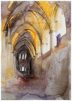 Watercolours and pen. The Saint-Andrew cathedral in Bordeaux. akwarelka89 by neko-gato.deviantart.com on @deviantART