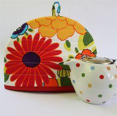 Bright summer flowers - Tea Cosy with matching teapot mat/coaster. | monkey & bee | madeit.com.au