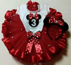 Minnie Mouse Party Decorations, Minnie Mouse Theme Party, Red Minnie Mouse, Baby Tutu, Baby Dress, Tutu Outfits, Kids Outfits, Toddler Fashion, Kids Fashion