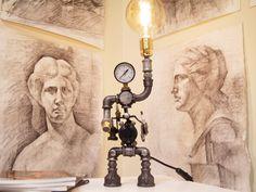 Buy an amazing desk metal robot pipe lamp What Is Steampunk, Steampunk Lamp, Vintage Lamps, Vintage Industrial, Metal Robot, Vintage Robots, Industrial Interior Design, Metal Desks, Retro Lighting