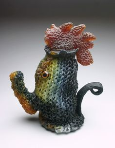 "Carol Milne ""Cock-a-Doodle-Do""   kilncast lead crystal, taxidermy eyes, http://www.morganglassgallery.com/imagepages/milne_cock_a_doodle.htm"