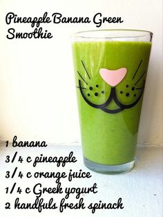 Pineapple Banana Green Smoothie and you can replace yogurt with coconut milk! Mmmm
