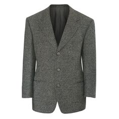 ERMENEGILDO ZEGNA vintage gray tweed wool blend sport coat blazer jacket 42/52 S #ErmenegildoZegna #ThreeButton