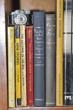 A shelf of Salinger; 'Catcher in the Rye', 'Nine Stories (or' For Esme, with Love and Squalor'), 'Raise High theRoofbeams Carpenters/Seymour an Introduction' and' Franny and Zooey'.