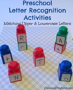 Could attach the letters of Toddlers names to these and see ifthey can make a tower spelling their name Preschool Letter Recognition Activities - Matching Upper and Lowercase Letters using legos, and other fun activities. Preschool Learning Activities, Preschool Lessons, Preschool At Home, Kids Learning, Kindergarten Letter Activities, Preschool Science, Pre K Activities, Learning Spanish, Kindergarten Preparation