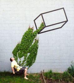 Ce lierre grimpant a servi de base à ce street artist pour réaliser son oeuvre renversante