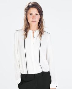 cb95760320 BLOUSE WITH CONTRASTING TOP STITCHING Zara Damen