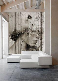 Large graphic wall art Jak umieszczać portret we wnętrzu? Contemporary Decor, Home Deco, Wall Murals, Art Walls, Wood Walls, Living Room Designs, Street Art, Wall Decor, Room Decor