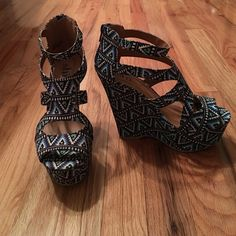 NEVER BEFORE WORN Blue Aztec Wedges Never before worn blue wedges, 5in, blue/black/white Journey's Shoes Wedges