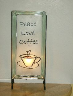 Peace Love Coffee glass block lamp made from by Glowblocks on Etsy, $60.00