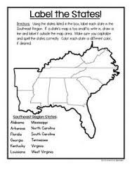 Unfolded Southeast Region Map Southeast States Map Southeast Region States Southeast States On A Map United States Map Grade South East States Us Geography, Teaching Geography, Teaching History, History Education, Physical Education, Special Education, Art Education, 3rd Grade Social Studies, Social Studies Activities