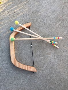 Wooden Bow and Arrows Natural Toy Play Set by FromJennifer on Etsy