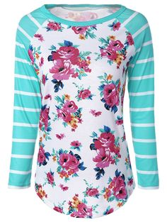 Stylish Stripe Floral Print Long Raglan Sleeve T-Shirt buy online store in Europe. All clothing in one place. Visual Kei, Modest Fashion, Fashion Outfits, Fashion Sale, Fashion Clothes, Fashion Online, Mens Fashion, Floral Stripe, Floral Tops