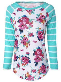 Fresh  Stripe Floral Print Long Raglan Sleeve T-Shirt
