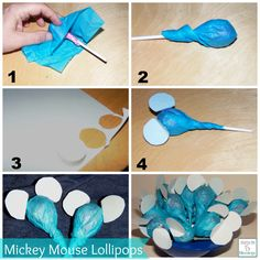 I think these look more like Elephants.. Thrifty DIY Mickey Mouse Lollipop Wrappers - perfect for party favors! #Disneyside  http://mamato5blessings.com/2014/02/mickey-mouse-party-favor-lollipop-wrappers-disneyside/
