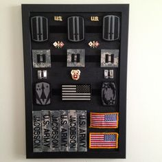 Cork board and Velcro to organize Army patches and pins Military Shadow Box, Military Pins, Military Mom, Army Mom, Military Home Decor, Army Decor, Army Crafts, Army Gears, Army Patches