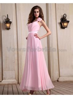 Chiffon One-Shoulder Ankle-Length A-line Evening Dress with Ruffle
